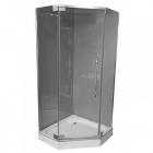 Пентагональная душевая кабина Veronis KN-8-90 профиль нержавеющая сталь/прозрачное стекло