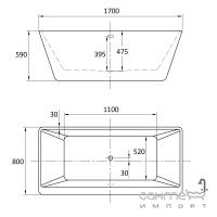 Акриловая отдельностоящая ванна Vito VT1007