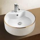 Раковина керамическая на столешницу круглая Vito VT-G0012 белый, декор золото