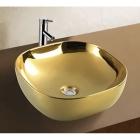 Раковина керамическая на столешницу квадратная Vito VT-G0014 золото