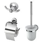 Набор аксессуаров крючок, ёршик для унитаза, держатель для туалетной бумаги KollerPool Integro хром