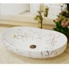 Раковина на столешницу Ametist 00251 белая, декор золото