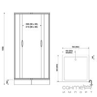 Душевая кабина с поддоном Liveno Kama Q 1590-G профиль хром, стекло графит