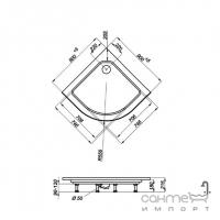 Душевой поддон полукруглый с ножками и панелью Triton Орион 90х90