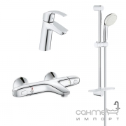 Набор смесителей для ванной c термостатом Grohe Eurosmart 34101TM хром