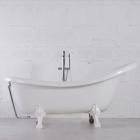 Отдельностоящая ванна из литого мрамора Fancy Marble Lady Hamilton 80174501-2 белая+ перелив хром