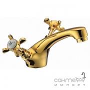 Смеситель для раковины с крестовыми рукоятками Imprese Cuthna 05280 zlato-n золото