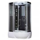 Гидромассажный бокс левосторонний Badico San B388L XX стекло серое, профиль сатин, цвет задних стенок в ассортименте