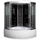Гидромассажный бокс Badico San 384 XX стекло серое, профиль сатин, цвет задних стенок в ассортименте