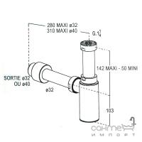 Сифон для раковины 32мм Nicoll SAS L311K хром