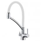 Смеситель для кухни с гибким изливом для фильтрованной воды Fabiano FKM-31.10 Chrome White хром/белый