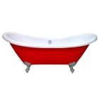 Отдельностоящая акриловая ванна на львиных лапах в цвете с переливом Atlantis C-3140 красная