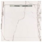 Душевой поддон из керамогранита Aquanit с сифоном Slope 90х90 Infinity White белый мрамор