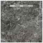 Душевой поддон из керамогранита Aquanit с сифоном Slope 90х90 Fiori di Pesca Grey серый мрамор