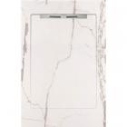 Душевой поддон из керамогранита Aquanit с сифоном Slope 90х1350 Infinity White белый мрамор