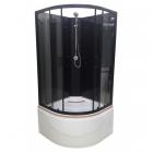 Полукруглый душевой бокс без крыши Veronis BKV-1-06 профиль черный, задние стенки черные, двери прозрачные