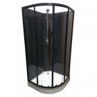 Полукруглый душевой бокс без крыши Veronis BKN-1-07 профиль черный, задние стенки черные, двери прозрачные