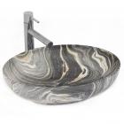 Раковина на столешницу Rea Carola Slim D.Grey REA-U8440 темно-серый мрамор