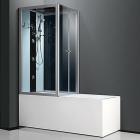 Гидромассажный бокс Atlantis C-3129-ZT L левосторонний, профиль сатин, задние стенки белые, стекло синее, панель черная