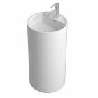 Раковина цельнолитая с пьедесталом и 1 отверстием для смесителя iStone Colleen WD38375 белый камень