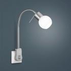 Настенный LED-светильник в розетку Trio Fred 891770107 матовый никель/белое стекло