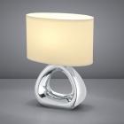 Настольная лампа Trio Reality Gizeh R50841089 керамика серебро/белая ткань