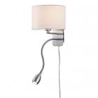 Настенный светильник с дополнительной LED-лампой для чтения Trio Hotel 271170201 матовый никель/белая ткань