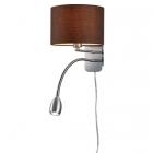 Настенный светильник с дополнительной LED-лампой для чтения Trio Hotel 271170214 матовый никель/коричневая ткань