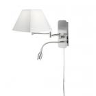 Настенный светильник с дополнительной LED-лампой для чтения Trio Hotel 271370201 матовый никель/белая ткань