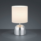 Настольная лампа Trio Reality Jan R59071007 матовый никель/белая ткань