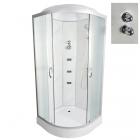 Гидромассажный бокс Vivia TKF90/1 8050 WG профиль сатин, матовое стекло, задние стенки айвори