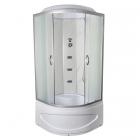 Гидромассажный бокс Vivia TKF90 8006 BG профиль сатин, прозрачное стекло, задние стенки белый оникс