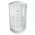 Гидромассажный бокс Vivia TKF90/1 8006 BG профиль сатин, прозрачное стекло, задние стенки белый оникс