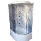 Гидромассажный бокс Vivia TKF120 L левосторонний, профиль сатин, прозрачное стекло, задние стенки мрамор