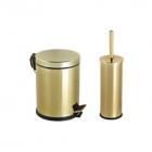 Ведро для мусора с педалью Efor Metal 5л + ершик для унитаза 951G золото