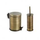 Ведро для мусора с педалью Efor Metal 5л + ершик для унитаза 951A антик