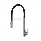 Смеситель для кухни с гибким изливом и душем Fabiano FKM 43C S/S нерж.сталь/черный