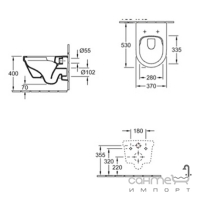 Подвесной безободковый унитаз с сидением softclose Villeroy&Boch Architecture 4694HR01 белый