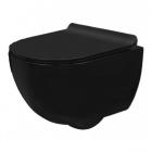 Подвесной безободковый унитаз с сидением softclose Rea Carlo Mini Black Mat REA-C8405 матовый черный