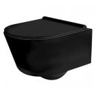 Подвесной безободковый унитаз с сидением softclose slim дюропласт Rea Porter Rimless REA-C2361 черный