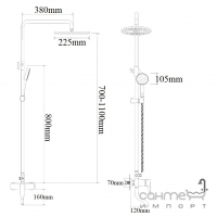 Душевая стойка Impulse i3700 с изливом для ванны и ручной лейкой Select