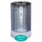 Гидромассажный бокс Delfi 002СB Frozen задние стенки зеркальные с рисунком, дверцы стекло графит, профиль сатин