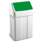 Урна для мусора с поворотной зеленой крышкой 12 л TTS 00005222, пластик напольная