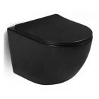 Подвесной безободковый унитаз с сидением softclose дюропласт Rostriks Dos Corta матовый черный