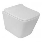 Подвесной безободковый унитаз с сидением softclose дюропласт Rostriks Uno Corta белый
