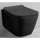 Подвесной безободковый унитаз с сидением softclose дюропласт Rostriks Uno Corta матовый черный