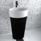 Раковина напольная из искусственного камня Besco Uniqa Black&White 36x46х84 белая/черная