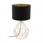 Настольная лампа Eglo Pegregal 1 95185 арт-деко, сталь, ткань, медный, черный