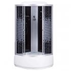 Душевой бокс 100х100 Sansa 6690A профиль сатин, стекло серое мозаик, задние стенки черные