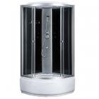 Душевой бокс 80х80 Sansa 6690A профиль сатин, стекло серое, задние стенки черные